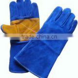 14'' long Leather welding gloves with kevlar and reinforced palm /best quality taidoc