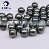 9-10mm AAA black tahitian loose pearl material green color for wholesale