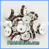 Wholesale 8mm Rhinestone Spacer Beads Brown Acrylic Crystal Rhinestone Rondelle Findings 18Colors For Making Jewelry RRS-B012A