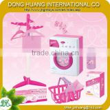 Kids electric musical washing machine with hanger,basket,pink color washing machine play set