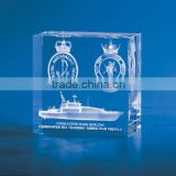 3d sailing boat laser engraved crystal cube block ship crystal engraved gift for office decoration