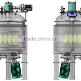 MT-1000L Jacketed Vacuum Process Vessel with Bottom Entry High Shear Mixer with Cutting Blade & Top-Mounted Scraped Surface Mix