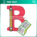 Red Twill Letter B With Book Pencil Iron-on Custom Badge Embroidery Patches