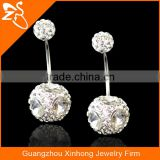 Multi Rhinestone Gems Ball Stainless Steel Belly Button Rings Body Piercing Jewelry Navel Rings