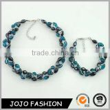 Fancy design for ladies beaded choker and silver chain beaded necklace set                                                                                                         Supplier's Choice