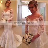 (MY2607) MARRY YOU China Custom Made Bridal Gown V-neck 3/4 long Sleeves Lace Wedding Dress Mermaid Cut 2015                                                                         Quality Choice