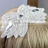 Rhinestone Applique with Crystals , Pearls for Wedding Sash Bridal Belt , Crystal Beaded Appliques