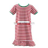 wholesale cotton nightgown baby Christmas stripe nighty long sleeve dress Christmas nightgown