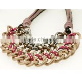 Matt Gun Metal And Matt Silver And Matt Copper Plated Three Rows Chain Pendant PU Leather Necklace