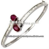 Baguette diamonds oval ruby bangle bracelet, Gold bracelets bangles design, Women gemstone bracelet jewelry