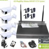 Long range home video security surveillance cctv camera system China, 4ch wifi nvr wireless nvr kit, wifi ip camera with nvr kit