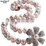 mixed colour 11-12mm button round good design jewelry freshwater pearl necklace