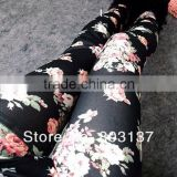 2014 Womens The Korean Fashion Leggins Denim Leggings BLack Roses Wholesale Slim Fitness Casual Pants