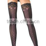 Wholesale Black Sheer Lace Top Stockings