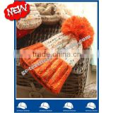 fashion colorful acrylic winter beanie hat with contrast color cuff and fake fur pompom for girl wholesale from china