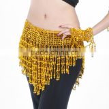 Elastic Pearl Belly Dance Stage Performance Practice Waist Chain Belt With Small Bell