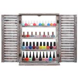 MyGift? Brown Wood Window & Shutter Design Nail Polish Rack for Wall / Salon Display Stand with 4 Shelves