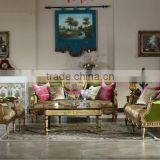 Antique Wood Frame Sofa Loveseat Chair, Luxury Golden Sofa Set