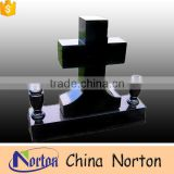 European style shanxi black granite cross design tombstones for cemetery NTGT-065L