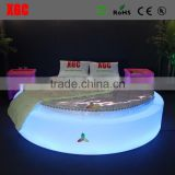 Hot sale XGC luxury oval shaped bed with 16 colors changing LED lighting