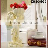 new polyresin design elegant lovely angel baby type for garden decoration with flower pot