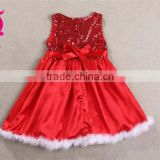 Wholesale Fall New Fashion Baby Girls Red Sequined Sleeveless Dresses Baby Girl Christmas Priness Dress