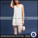 2017 MGOO White Sleeveless Blouse Split Hem Tops Ruffled detail Double Layer Chiffon Fabric Women Longline Tops