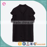 OEM China factory fashion black bow tie classic custom women blouse