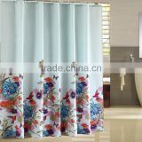 Creative Home Ideas Shower Curtain with 12 Color Coordinated Metal Roller Ring polyester bathroom shower curtain