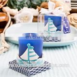 Popular Charming Nautical Style Navy Blue Glass Votive Wedding Favor Candle Holder for Wedding and Party Gift