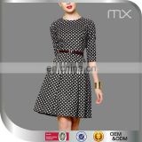 Fashion Ladies Office Mini Dress Half Sleeves Design Dress Black And White Plaid Dress