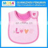 Embroidered Waterproof Pink Stripe Love Baby Bibs And Burp Cloths