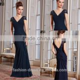New Arrival Elegant Low V-back Pleated Chiffon Beaded Cap Sleeve Evening Dress 2014