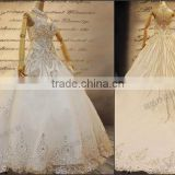 Charming brilliant beaded sleeveless tulle and lace applique vintage lace high neck wedding dresses