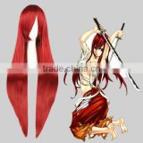 High Quality 100cm Long Straight Fairy Tail-Elza Scarlet Wine Red Synthetic Anime Wig Cosplay Hair Wig Party Wig