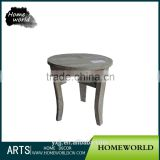 Shabby chic reclaimed natural wood Chinese round stool for dressing room