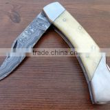 "udk f60"" custom handmade Damascus folding knife / pocket knife with camel bone and steel booster handle"