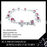 2016 Latest design 925 silver ruby zirconia micro pavewhite gold funky bracelets for girls