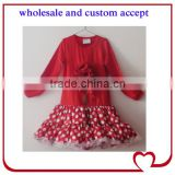 christmas red dots long skirt flower long sleeve dress outfit girls spring fall cotton dresses frocks child one piece tutu dress