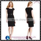 2015 the newest ladies A-line crew neck dress with short sleeve black and plus size free sample