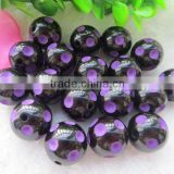 Halloween purple 12mm to 20mm hot selling chunky resin lucite polka dot beads for chunky bead necklace for little girl