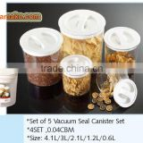 2015 new hot selling Set of 5 Vacuum Seal Canister Set BPA free FDA approved round food container