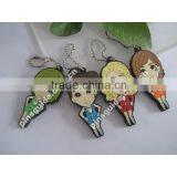 Advertising Gift Customized Printed Logo 2D Soft PVC Boy Girl Couple Keychain For Souvenir
