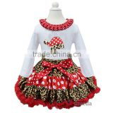 Red Polka Dots Leopard Pettiskirt with Xmas Santa Hat Ruffles Collar White Long Sleeves Tee