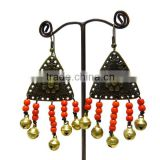 0001 HANDMADE JEWELRY Set Dangle Red Coral STONE Brass Stitch Beaded Earrings from THAILAND