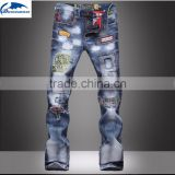 new popular style hole patch patch beggars Slim denim jeans pants men                                                                         Quality Choice