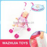 2016 China factory new design 18 inch kids play baby doll toy education with stroller