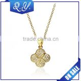 Charming gold plated long chain necklace jewelry with flower shape zircon pendant