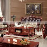 European style leather sofa,solid wood carving antique genuine leather sofa,living room leather sofa GZH8867#