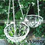 White hanging iron flower basket stand